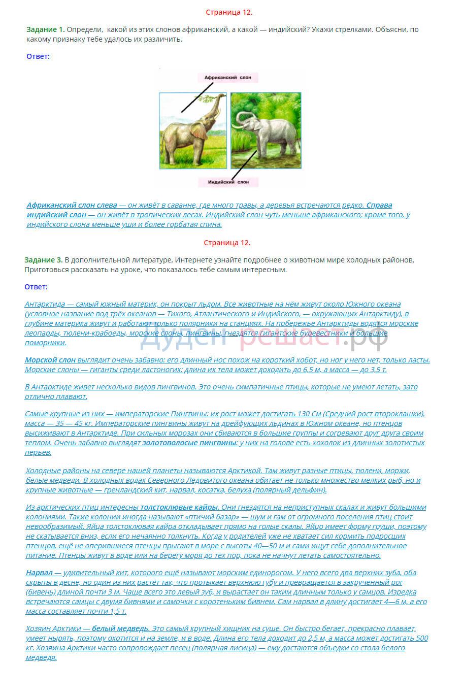 Окружающий мир 1 класс рабочая тетрадь Плешаков 2 часть страница 12