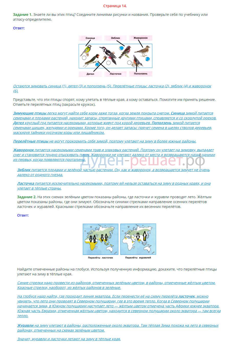 Окружающий мир 1 класс рабочая тетрадь Плешаков 2 часть страница 14