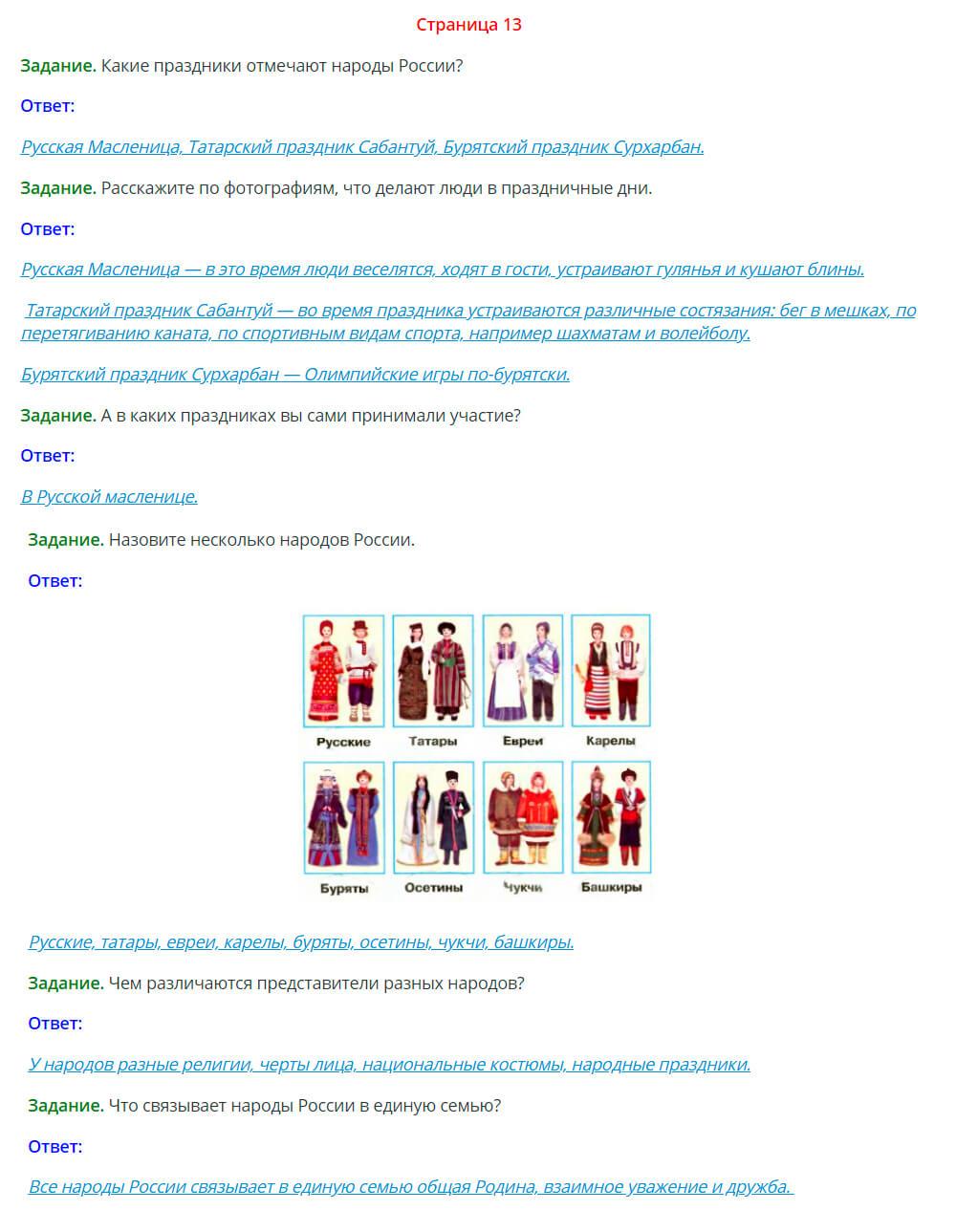 Окружающий мир 1 класс Плешаков 1 часть страница 13