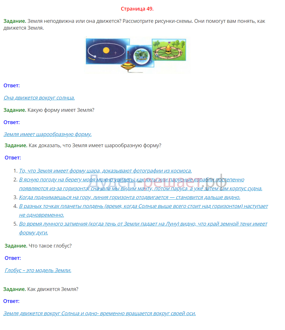 Окружающий мир 1 класс Плешаков 1 часть страница 49