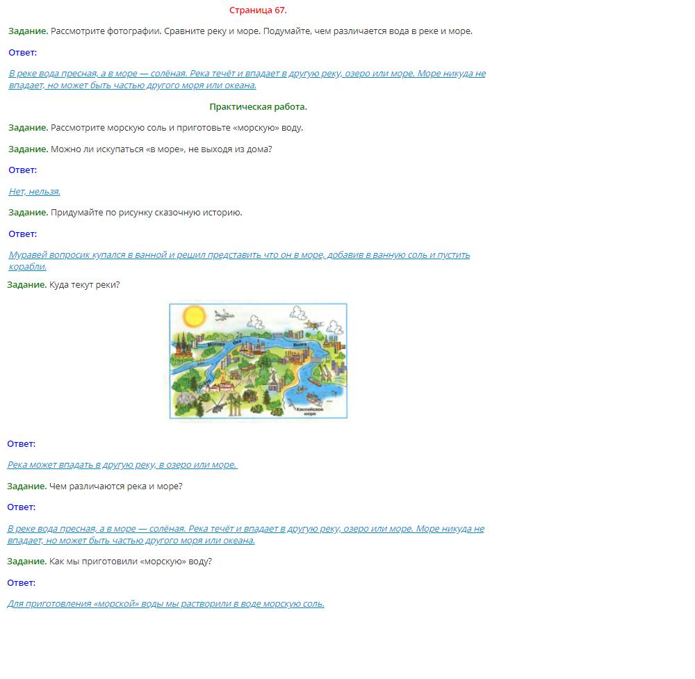 Окружающий мир 1 класс Плешаков 1 часть страница 67