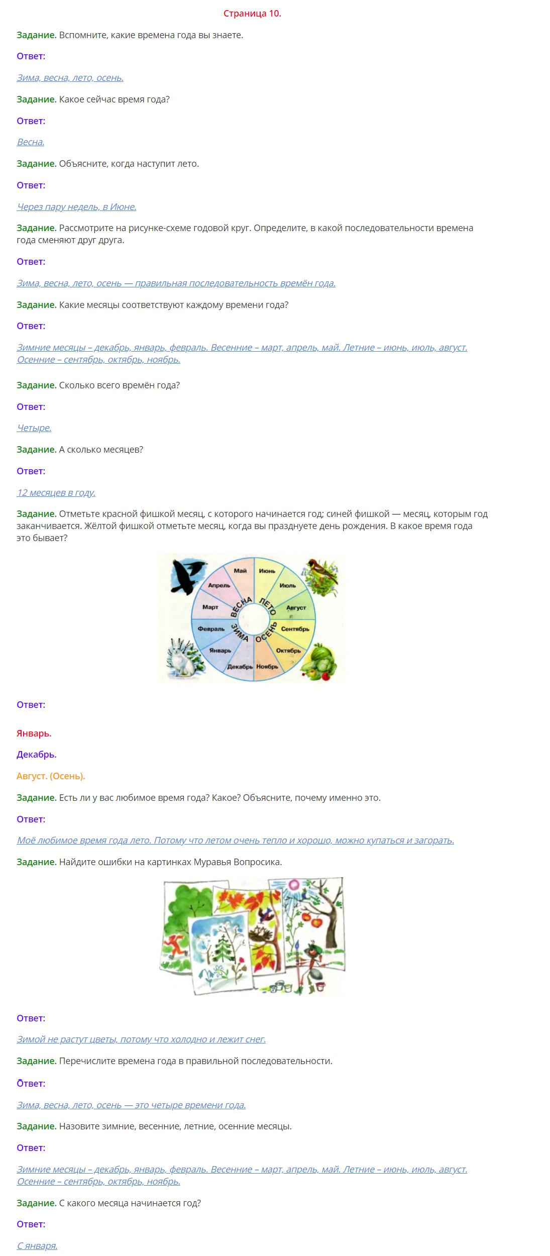 Окружающий мир 1 класс Плешаков 2 часть страница 10