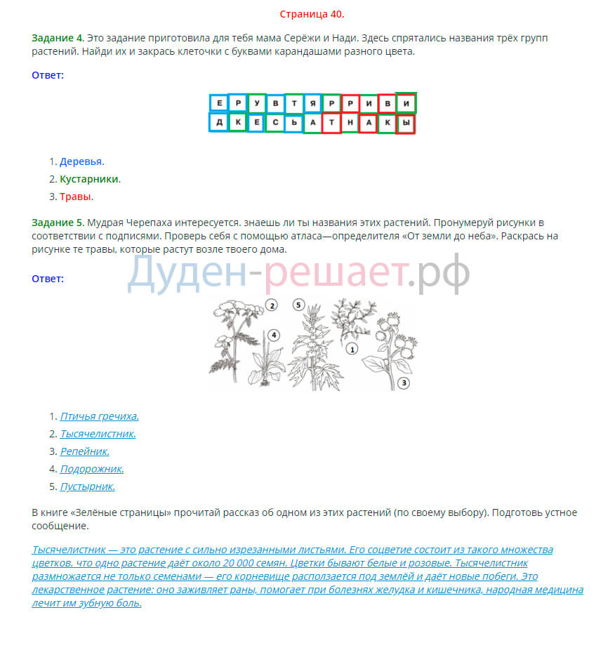 Окружающий мир 2 класс рабочая тетрадь Плешаков 1 часть страница 40