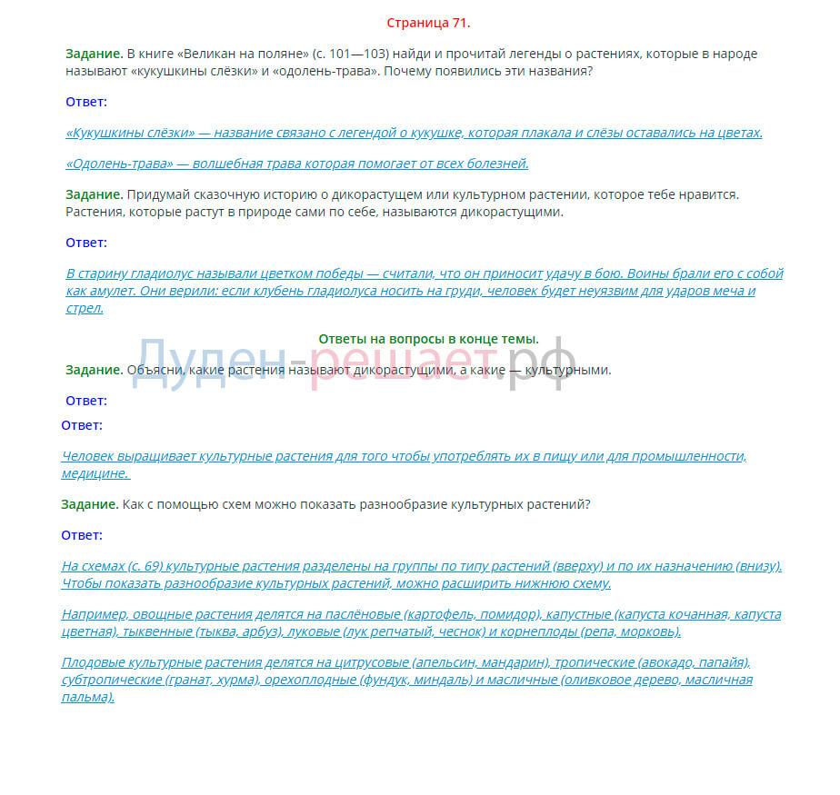 Окружающий мир 2 класс Плешаков 1 часть страница 71