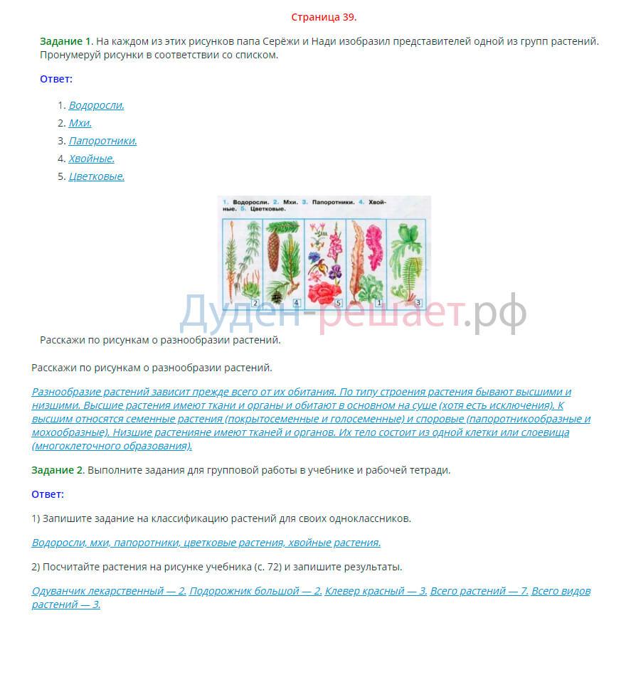 Окружающий мир 3 класс рабочая тетрадь Плешаков 1 часть страница 39