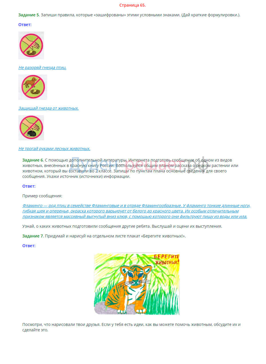 Окружающий мир 3 класс рабочая тетрадь Плешаков 1 часть страница 65