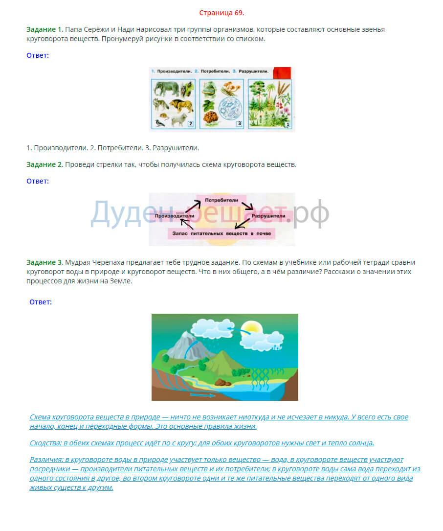 Окружающий мир 3 класс рабочая тетрадь Плешаков 1 часть страница 69