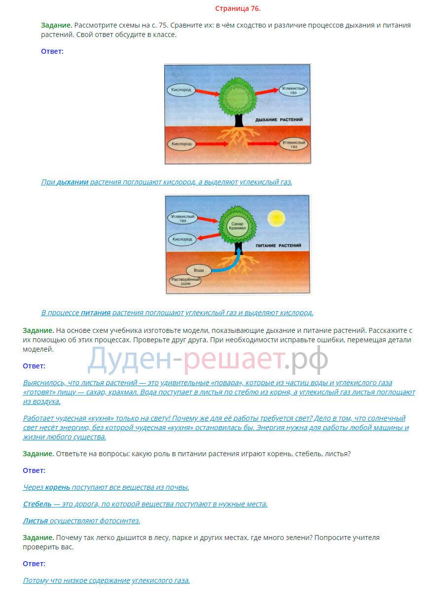 Окружающий мир 3 класс Плешаков 1 часть страница 76
