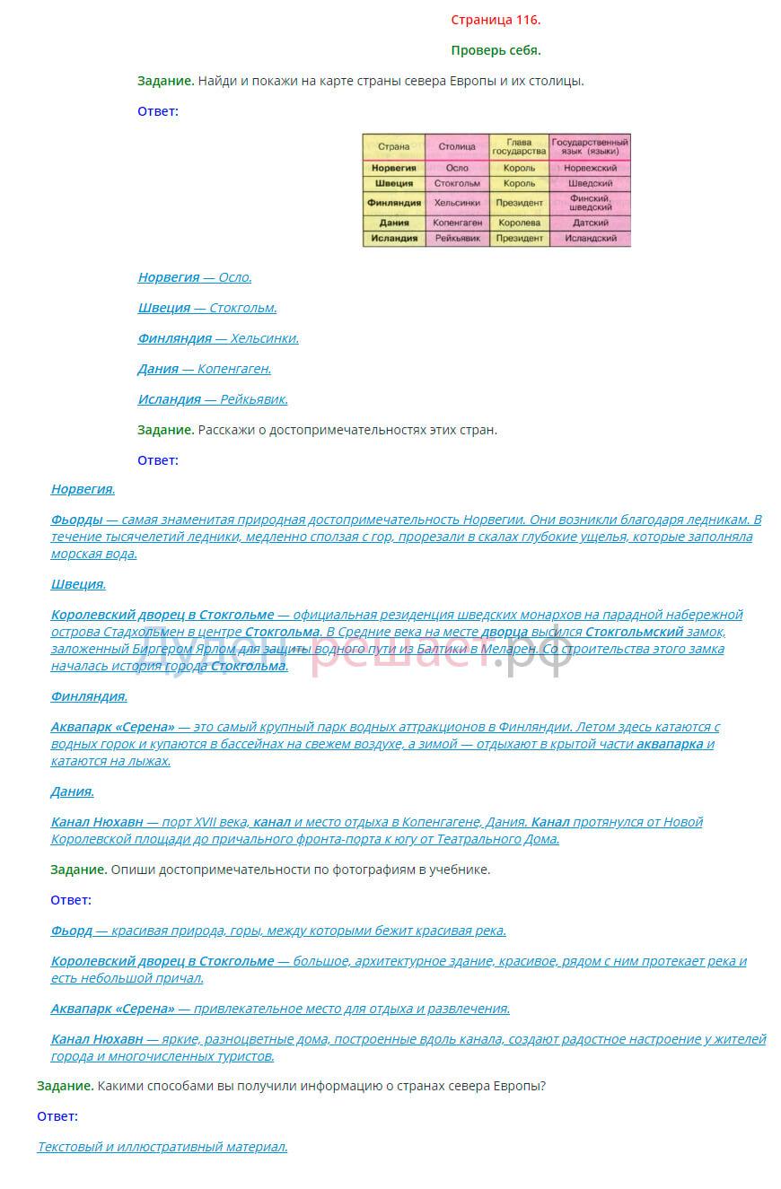 Окружающий мир 3 класс Плешаков 2 часть страница 116